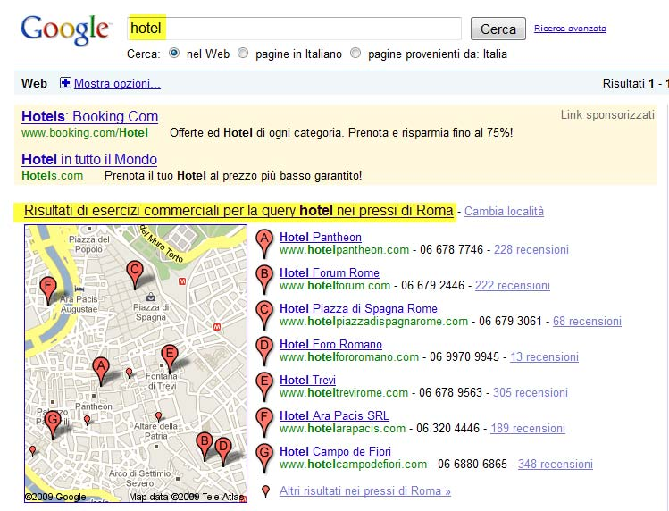 esempio google local search