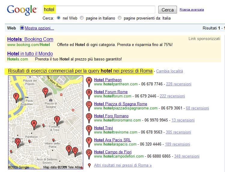 esempio google local search