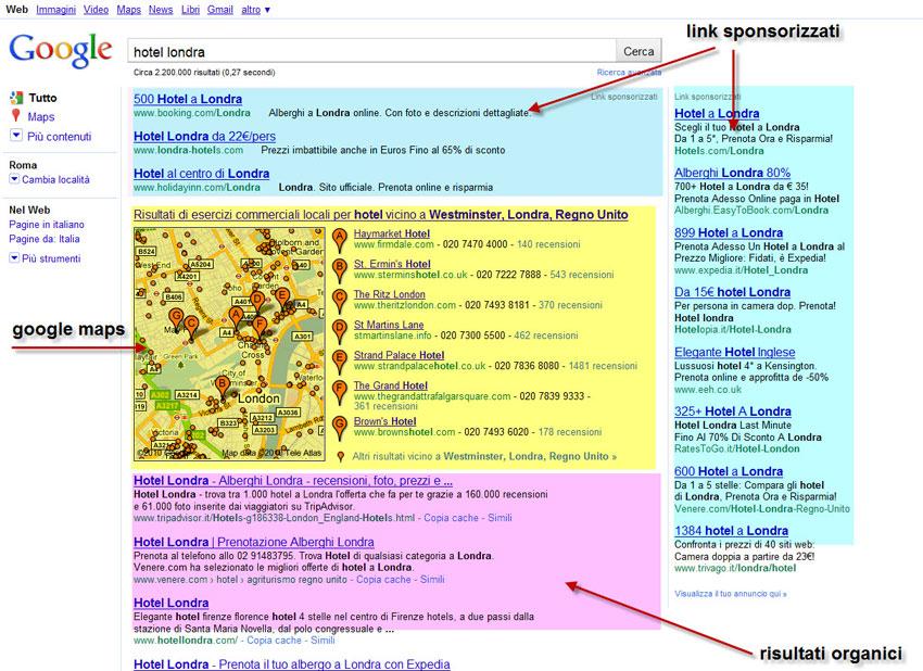 Prima pagina di Google con elenco dei risultati