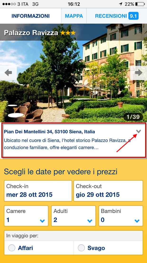 booking.com interfaccia mobile